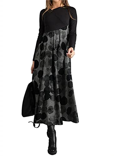 MOCEAL Abito Lungo con Stampa Bohemien a Maniche Lunghe per Il Tempo Libero Autunno Inverno da Donna Elegante Collo V Vestito (Nero1, L)