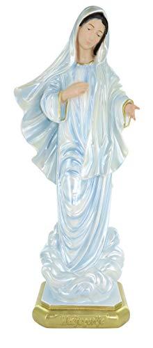 Ferrari & Arrighetti Estatua Virgen de Medjugorje en Yeso Pintada a Mano - 40 cm