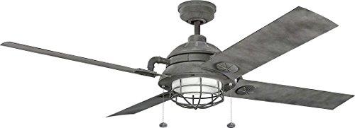 Kichler 310136WZC, Ceiling Fan Weathered Zinc 65' Outdoor Ceiling Fan with Light