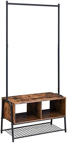 AOIWE Racks de Prenda de 181 cm Bastidor de Abrigo Industrial con Zapato de árbol de Banco con 2 cuble Almacenamiento de Almacenamiento para Entrada de la Sala de Estar de la Sala de la Sala de árbol