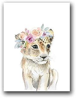fumak Canvas Wall Art - Animals Floral Crown Art Decor Canvas Painting, Baby Girl Prints Animal Giraffe Elephant Lion Wall Art Picture Nursery Poster