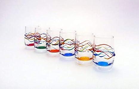 "set 6 vasos licor""jazz'' vidrio pintado a mano estilo murano venecia"