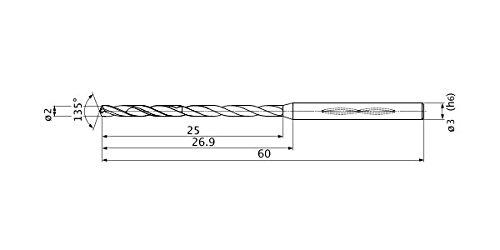 Mitsubishi Materials MHS0200L025B MHS Solid Carbide Drill, Internal Coolant, 9 Hole Depth, 2 mm Cutting Diameter, 0.4 mm Point Length, 3 mm Shank Diameter