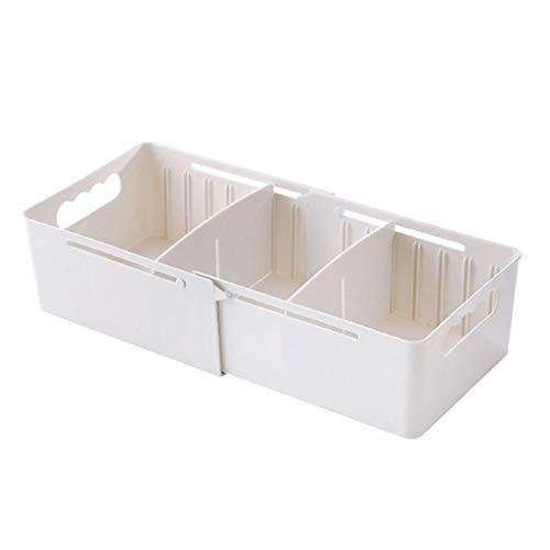 Aufbewahrungsbox für BH Socken Bilden Mini Kleidung Aufbewahrungskiste mit Deckel 3 Zellen(Weiß,free)