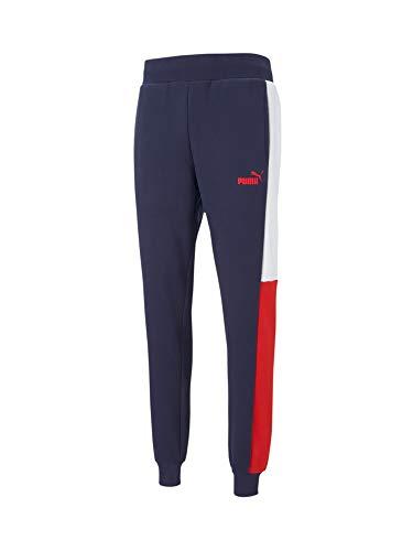 PUMA Block Sweatpants FL Pantalón, Hombre, Azul, S