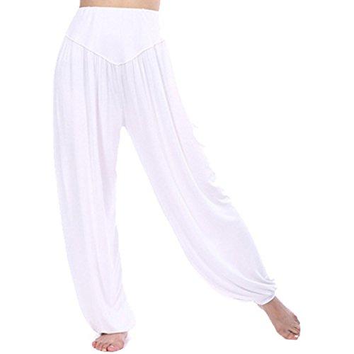 MEISHINE® Damen Modal Elastisch Haremshose Pluderhose Pumphose Ideal für Sport Yoga Tanz Jogging Dance (Size L, Weiß)