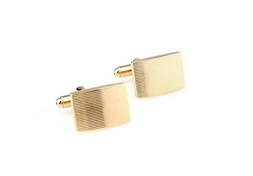 Bishilin Herren Manschettenknöpfe Hemd Edelstahl Rechteck Gold Manschettenknopf für Hochzeit mit Box