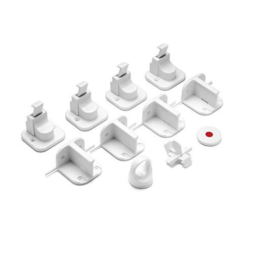reer Vorteilspack Magnetschloss, 4 Stück, Schrank-Sicherung und Schubladen-Sicherung, vom Schwäbischen Kindersicherheitsexperten, Weiß, 51020