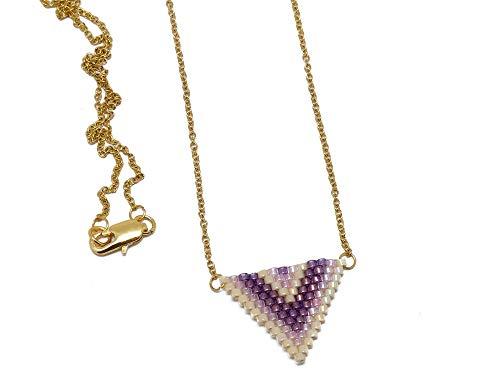 Collana Perle giapponesi perle giapponesi viola rosa pastello beige triangolo intreccio a catena a chevron in acciaio inox personalizzato regalo di Natale mamma matrimonio anniversario