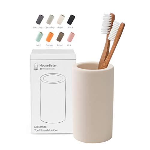 HouseSister Organic Diatomite Toothbrush Toothpaste Makeup Brushes Razors Holder Bathroom Countertop Organizer Stand Cup Organizer (Beige)