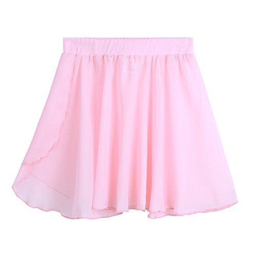 iEFiEL Kids Girls Dance Basic Chiffon Wrap Skirt Ballet Pull-On Skirt Dancewear Costumes Pink 3-4