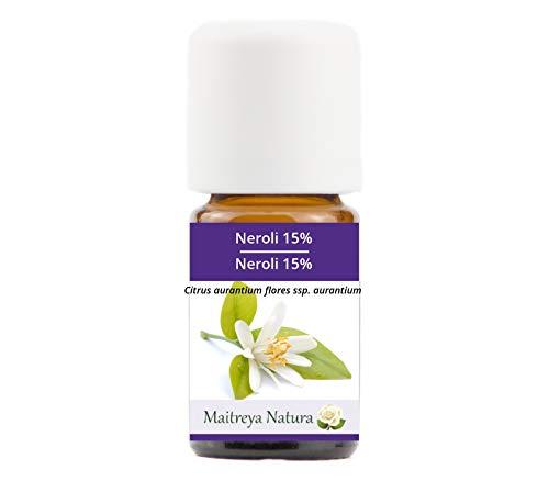 Maitreya Natura Aceite Esencial Orgánico NEROLI 15% en aceite de JOJOBA, 100% puro y natural, 5ml - aromaterapia, difusor, masaje, cosmética - calidad controlada y certificada, cruelty free, vegano