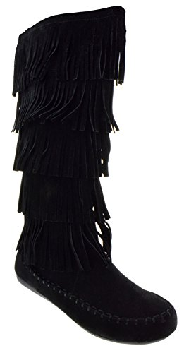 Candice 88 Women's Comfort Layer Fringe Moccasin Knee High Boots Black 5.5