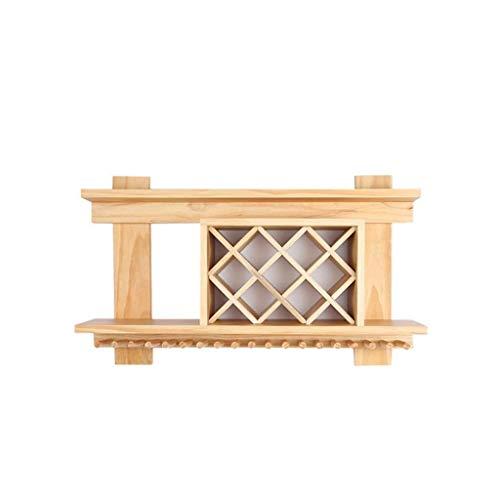 Estantería de vino Estantes de vino Estante de vino de pared de metal, soporte de estante de madera colgante y estante europeo de copa de vino estante de vino pequeño ( Size : 140*23*60cm )