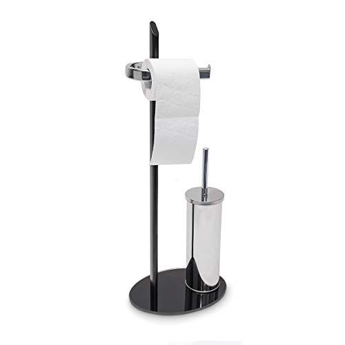 Relaxdays Set WC Klaas portarotolo e portascopino in Vetro Nero e Ferro Cromato HxLxP: 70x28x20 cm Colore Argento e Nero