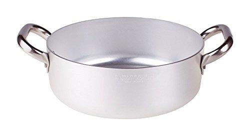 Pentole Agnelli ALMA10622 Alluminio Professionale 3 mm, Casseruola Bassa con 2 Maniglie, 3,4 L, Diametro: 22 cm