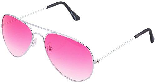 Unbekannt Pilotenbrille Sonnenbrille Fliegerbrille Pornobrille mit Federscharnier NICHT verspiegelt (Klar) (Pink Gläser/Silber Rahmen)