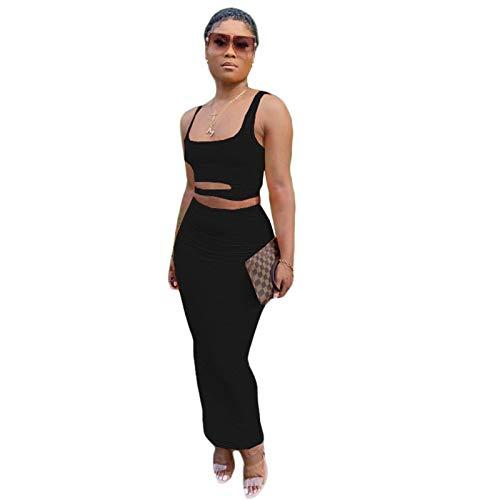 Europese en Amerikaanse dames effen kleur holle casual huisstijl rok pak tweedelig pak(Color:Black,Size:M)
