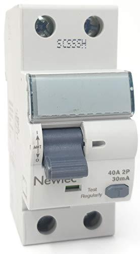Newlec RCCB 40 Amp 30mA 6KA Zweipolig - 2P RCD Leistungsschalter mit Prüfzeugnis