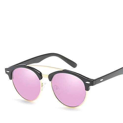 YHKF Gafas De Sol Polarizadas Vintage De Moda para Mujer Lente De Resina De Marco De Aleación Gafas De Sol para Mujer-Rosa