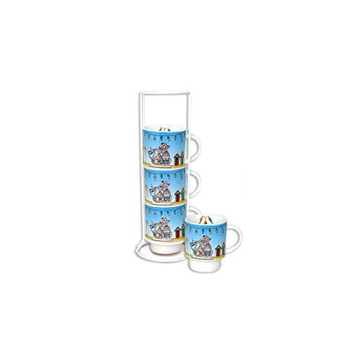 Set de 4 mugs sur colonne Roxy - 200 mL - Céramique