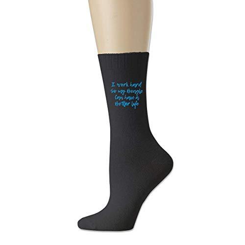 wonzhrui Negro Trabajo duro para que mi beagle pueda vivir una vida mejor Calcetines deportivos de algodón unisex Calcetines tobilleros casuales