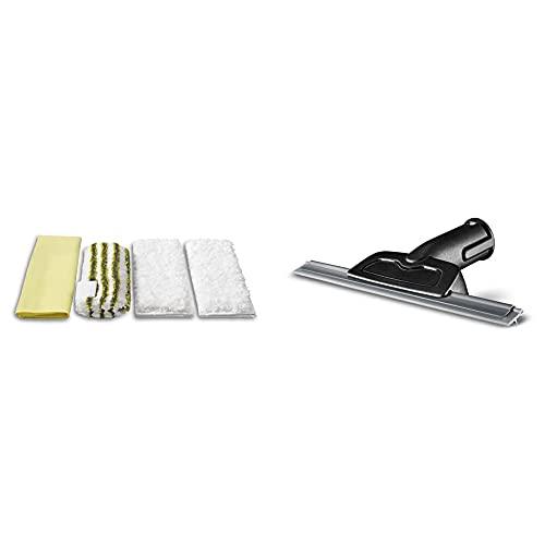 Kärcher Set de nettoyage microfibre pour salle de bain accessoire pour nettoyeurs vapeur Easy Fix & Raclette vapeur pour les vitres accessoire pour nettoyeurs vapeur