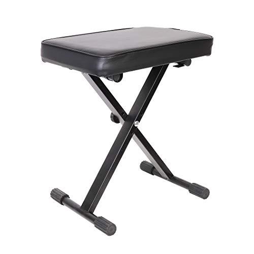 UNHO Banco para Piano y Teclado Taburete Plegable con Patas en X para Piano 3 Alturas Ajustables 48/51.5/53.5cm con Asiento Cómodo Carga Máx 80kg