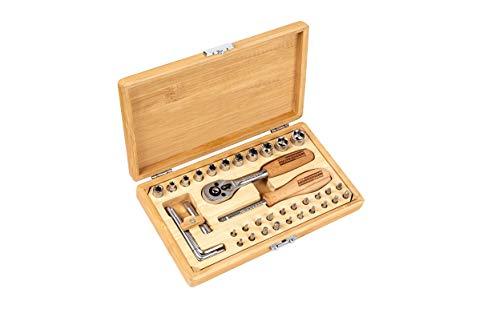 Brüder Mannesmann Werkzeuge M29000 Werkzeugkassette 41-tlg. Werkzeugsatz im Bambuskoffer
