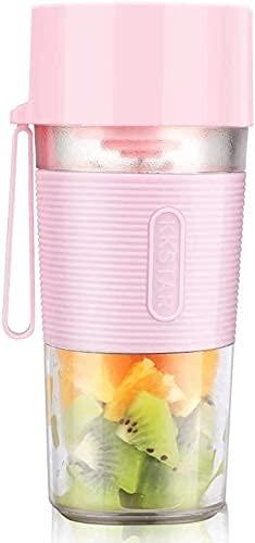 LINANNAN Mezclador Mini Exprimidor eléctrico, licuadora inalámbrica multifunción, diseño portátil Recargable USB, Jugo/Smoothie/Shakes Cup. Mezclador deportable.(Color Rosa)