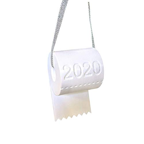 Christmas Tree Hanging Toilet Paper Crisis Ornament Decoration 2020 Funny Gift, Home Decor, for New Year (White)