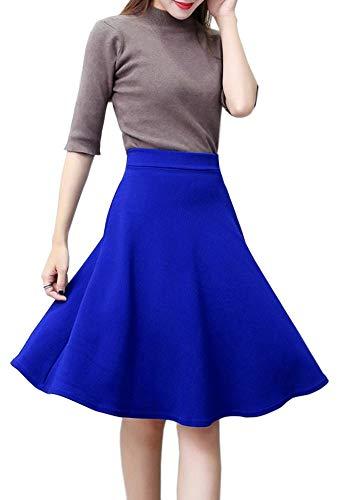 Afibi Women's Stretch Waist A-line Flared Midi Full Skater Skirt (XX-Large, Blue)