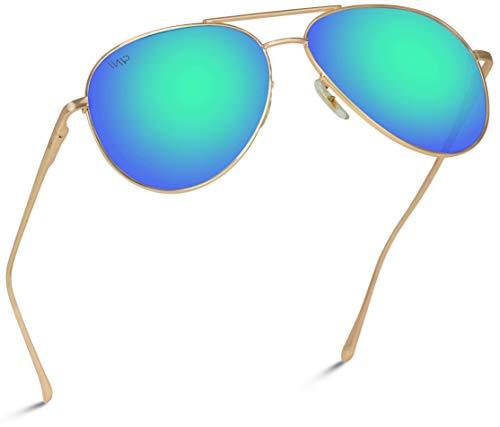 Classic Aviator Sunglasses Metal Frame Gold Full Mirror Blue-Green