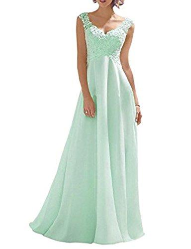 Vickyben Damen einfach Traeger Spitzen Aermellos Chiffon Hochzeitskleid Brautkleid Brautmode Kleid Abendkleider Brautjungfernkleid Ball Kleid
