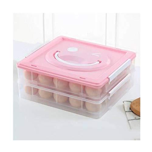 Huevera portátil Soporte for huevos de color rosa for el refrigerador, huevo bandeja portadora con la manija y la tapa, Envase for huevos 25/50, de doble capa, apilable Envase para huevos ( Size : L )