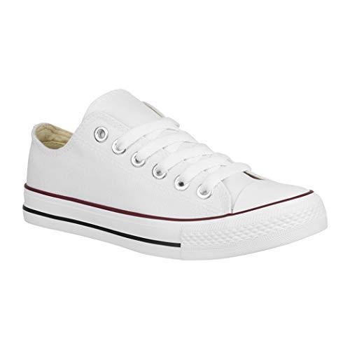 Elara Unisex Sneaker Textil Turnschuh Low top Chunkyrayan 36-46 B-YD3230-Weiss-41