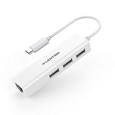 LENTION USB-C to 3 USB Ports Hub + RJ45 Ethernet LAN Adapter Compatible Apple MacBook Pro 13/15 (Thunderbolt 3), MacBook Air 2018, MacBook 12, Chromebook, Surface Book 2/Go, More (White)