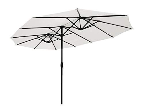 Sekey® 270 × 460 cm Aluminium Doppelsonnenschirm Marktschirm Gartenschirm Terrassenschirm Sonnenschutz UV50+ Creme