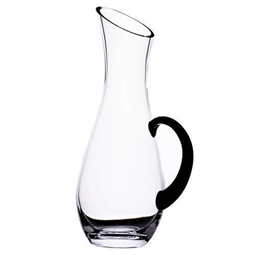 Carafe à Vin Classique de 1 L Avec Poignée - Ouverture Oblique - Verre En Cristal 100% Sans Plomb Soufflé à La Main, Accessoires Pour Le Vin, Carafe à Vin Rouge, Cadeau Pour Le Vin, Ensemble Carafe, A