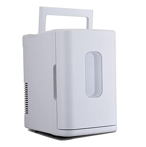 Mini Frigorífico Portátil Multifunción Para El Hogar, Coche, 10L De Alta Capacidad, Compatibilidad Con Alimentación De CA + CC, Para El Cuidado De La Piel, Dormitorio, Coche,Blanco