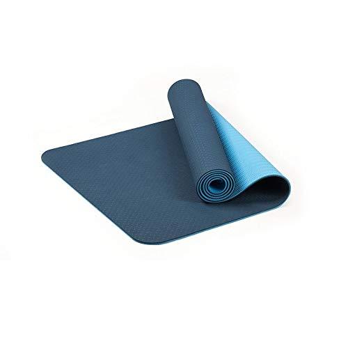 WXL Estera De Yoga Yoga Mat Mujeres Home Gym Fitness Tapete Gruesa Antideslizante Esterilla Pesas de Gimnasia Pilates Ejercicio 183 * 61 * 6mm Colchoneta De Ejercicio (Color : Blue)