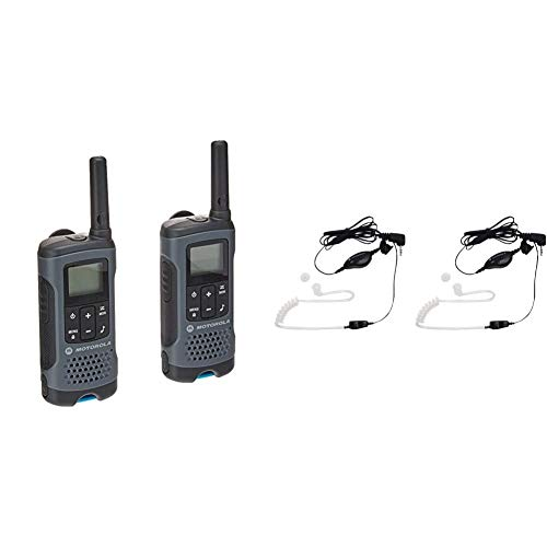 Motorola T200 Talkabout Radio, 2 Pack & Motorola 1518 Surveillance Headset with PTT Mic, Black, White