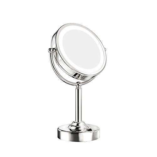 welmax Kosmetikspiegel mit LED Beleuchtete und 1x / 5X Fach Vergrößerung Schminkspiegel mit Licht 360 Grad Drehbare Doppelseitiger Tischspiegel mit EU-Stecker Make-Up-Spiegel Verchromt