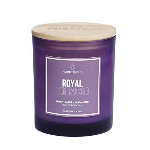 Royal Tobacco   Vela de soja natural   Vela perfumada de lujo   Vela de cera de soja   Vela hecha a mano   Regalo perfecto   Velas caseras   Vela en caja de regalo (mediana)