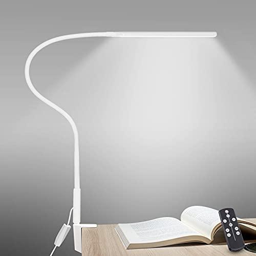 デスクライトLED 目に優しいLEDスタンドライト 多機能360°回転アームライト 平面発光12W 3階段調色6階段調光卓上ライト タッチコントと遠隔操作リモコン タイマー、記憶機能 PC作業・仕事・勉強・電気スタンド クランプ式 自然光 明るいライト 5V 2Aアダプター付き 日本語説明書