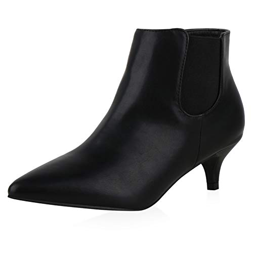 SCARPE VITA Damen Ankle Boots Stiefeletten Stiletto Booties Kurzschaft-Stiefeletten Kitten-Heels Spitze Schuhe 198020 Schwarz Schwarz 39