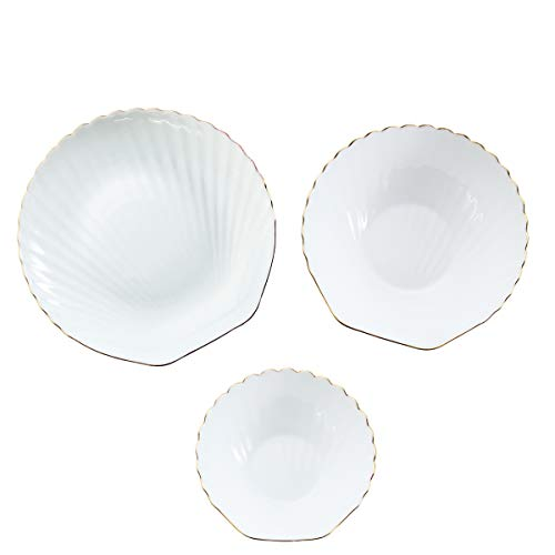Dinnerware Set 3-piece Opal Bowls Sets, Shell Shape Edge Inlaid Gold Bowls Plates, Break and Crack Resistant Dish Sets White