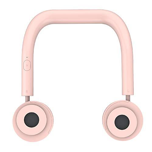 Athyior Ventilador Portatil USB - Recargable Ventilador Cuello con 3 velocidades Ajustable Silencioso Manos Libres sin aspas para Interior Exterior Viajes Deportes Verde/Rosado