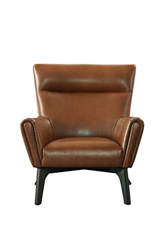 SIT-Möbel 6015-04 Ruhesessel aus Kunstleder, Beine aus Hevea-Holz, cognacfarbener Sessel, 89 x 91 x 94 cm
