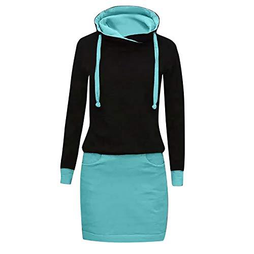 Xmiral Kapuzen-Kleid Farbblock Langarm Damen Lange Sweatshirt Beiläufig Fake Zwei Pullover Kleider(b-Himmelblau,L)